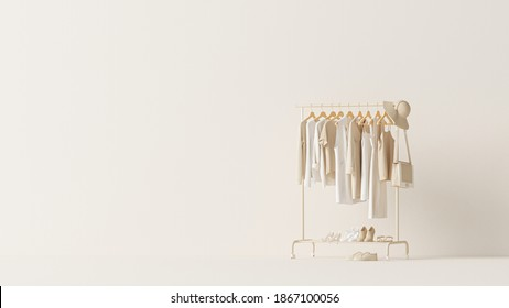 Clothes on grunge background, shelf on cream background. Collection of clothes hanging on a rack in neutral beige colors. 3d rendering, store and bedroom concept