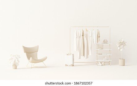Clothes on grunge background, shelf and plants pot, chair, luggage on cream background. Collection of clothes hanging on a rack in neutral beige colors. 3d rendering, store and bedroom concept
