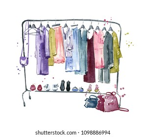 Clothes rail, watercolour illustration