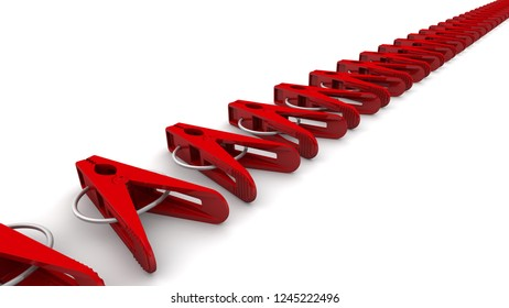 Clothespins made from plastic. Red plastic clothespins in a row on a white background. 3D Illustration