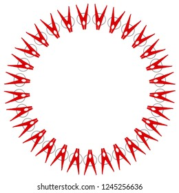 Clothespins made from plastic. Round frame. Many red plastic clothespins form a round frame on a white background. 3D Illustration