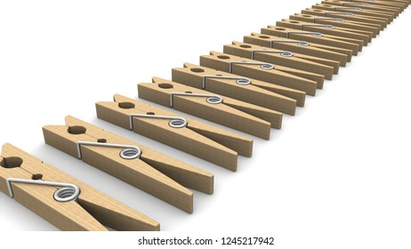 Clothespins made from wood. The wooden clothespins in a row on a white background. 3D Illustration