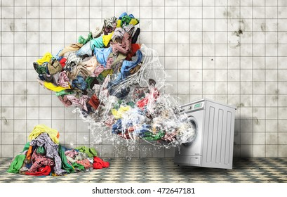 Clothing concept. Tornado of clothes flies from washing machine at laundry room. Concept of Big washing.