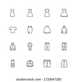 Clothing and dresses outline icons