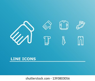 Clothing icon set and tie with pants, jersey and scarf. Hosiery related clothing icon  for web UI logo design.