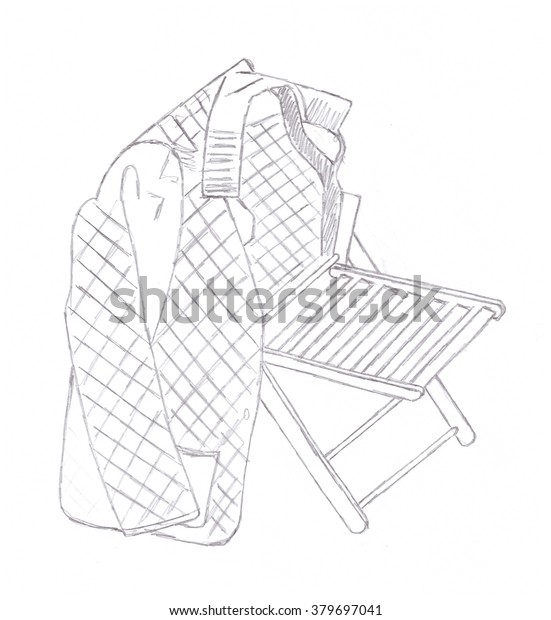 Clothing On Chair Sketch Pencil Drawing Stock Illustration