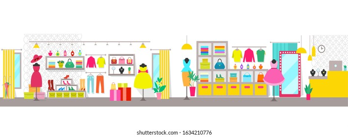 Clothing store with counter and clothes raster, shelves with shoes and dress, hat and sweaters, jewelry and accessories for ladies, womans shopping center