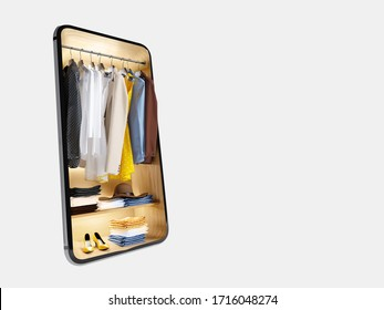 Clothing store in smartphone online shop app delivery service dressing room background concept. 3d rendering.