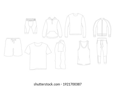 Cloths 2D cad drawing isolated on white background.