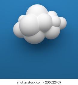 Cloud 3D blue sky.