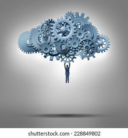 Cloud access and database hosting concept as a businessman hanging from a group of gears as a symbol for virtual internet computing solutions and online communication technology management.