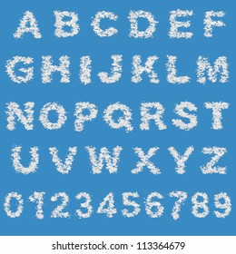 Cloud alphabet and numbers on blue sky background.