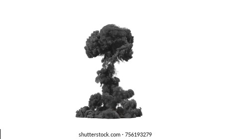cloud of black smoke from the explosion. 3d rendering