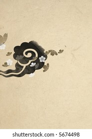 A cloud with cherry blossoms by Japanese traditional painting