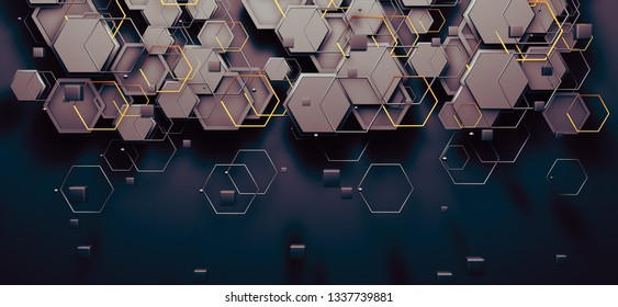 Cloud and computer concept.Abstract background of technology and science. Mesh or net with lines and geometric shapes detail.3d illustration