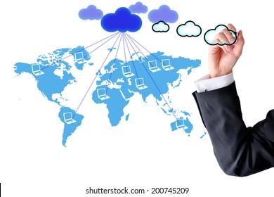 Cloud computer network world map