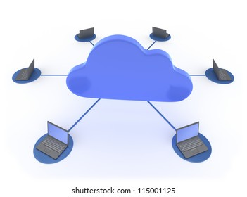 Cloud Computing 3D concept showing Laptops network linked to work with the Cloud Isolated on White Background