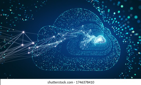 Cloud Computing und Big Data Konzept. 5G-Konnektivität digitaler Daten und futuristischer Informationen. Abstraktes Hochgeschwindigkeits-Internet von Dingen IOT Big Data Cloud Computing.