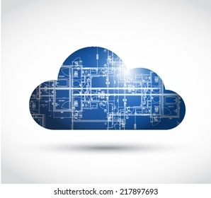 cloud computing and blueprint illustration design over a white background