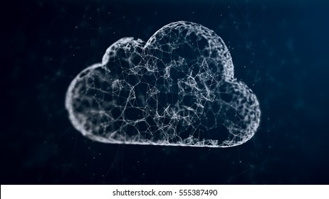 cloud computing from the chaotically slow moving connected points, cloud technology, cloud storage, internet of things