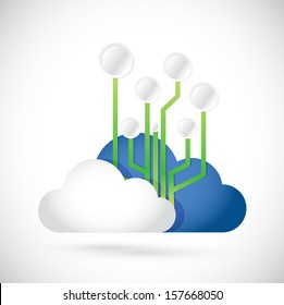 cloud computing circuit diagram illustration design over white