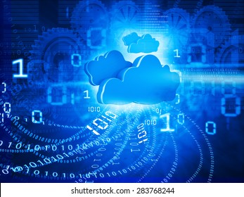 Cloud computing concept blue background