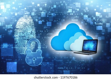 Cloud Computing Concept. Cloud with Computer in abstract technology background. 3d render