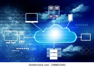 Cloud computing concept. Digital illustration