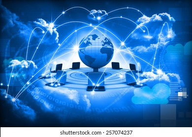 Cloud computing concept, global computer network