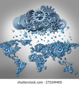 Cloud computing Concept and global internet technology symbol as world map made of machine gears and a group of cog wheels shaped as a remote virtual data server as a metaphor for mobile media.