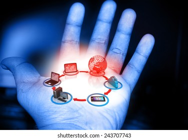 Cloud computing concept in human hand