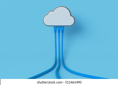 Cloud computing concept or symbol connect with network cable on blue background. 3d render