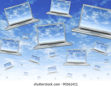 Cloud computing concept as a technology symbol of an internet virtual server with laptops floating in the air with clouds on the screens as networks of computers connected in a web of communications.
