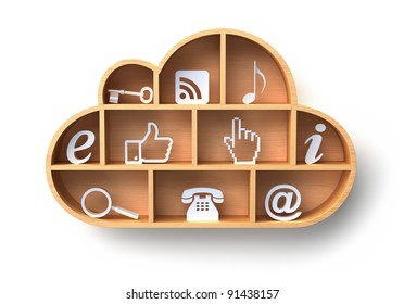Cloud computing concept with wooden shelf on the wall