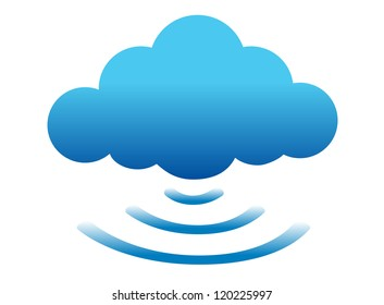 cloud computing connected illustration design over white