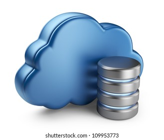 Cloud computing and database. 3D icon isolated on white background