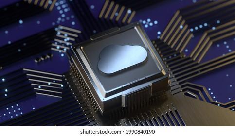 Cloud Computing Digital Information Data Center Technology. Computer Information Storage. Cybersecurity3D Illustration