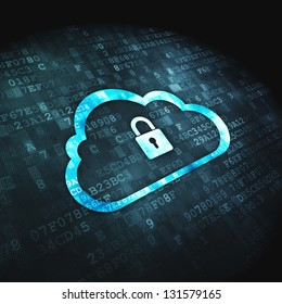 Cloud computing or network security concept: pixelated Cloud with Padlock icon on digital background, 3d render
