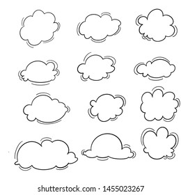 Cloud computing sketch. Icons of clouds, phone, laptop and arrows. Hand-drawn with ink on brown paper