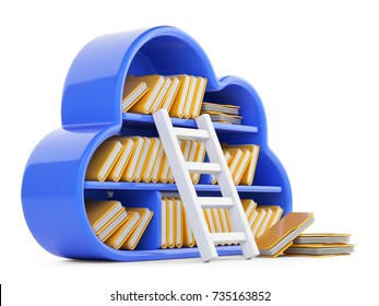 Cloud computing and store concept with blued shelf, stair and folders. 3d illustration isolated on a white background.