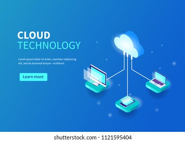 Cloud computing technology concept with pc, laptop, smarphone. Can use for web banner, infographics, hero images.  Line style Isometric illustration.