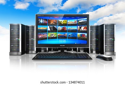 Cloud computing and telecommunication concept: desktop computer PC and row of network servers isolated on white background with reflection effect against blue sky with clouds