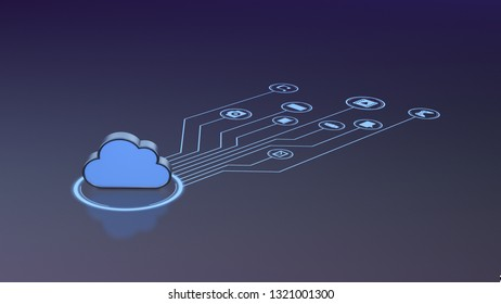 cloud connected to icons, concept of cloud computing (3d render)