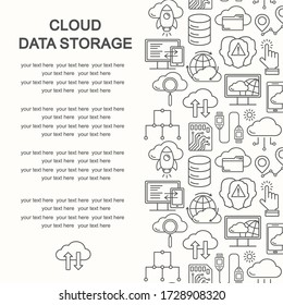 Cloud data storage seamless pattern with line style icons. Database background, information, global network, server center,  backup and security  illustration. Cloud computing.