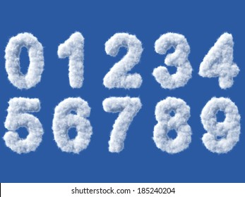 Cloud digits on white background, high quality 3d render