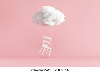 Cloud Floating above white chair on pink background. Minimal idea concept. 3D render.