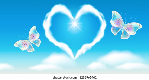 Cloud heart in the blue sky and fantasy transparent butterflies with golden ornament