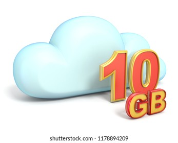 Cloud icon 10 GB storage capacity 3D rendering isolated on white background