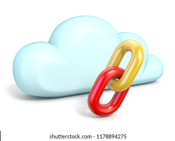 Cloud icon with chain links 3D rendering isolated on white background