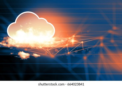 cloud icon on color network background illustration